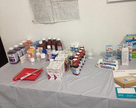 Dental supplies on a table during mission trip